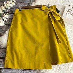 Halogen Skirt Mustard Faux Wrap Tie Front, 12P
